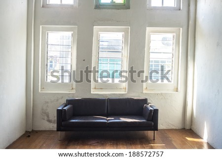 black sofa - stock photo