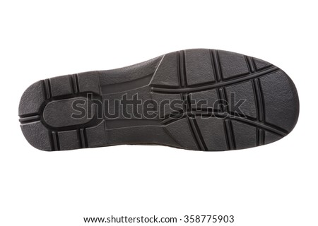 Black sole of men boot isolated on pure white background. - stock photo