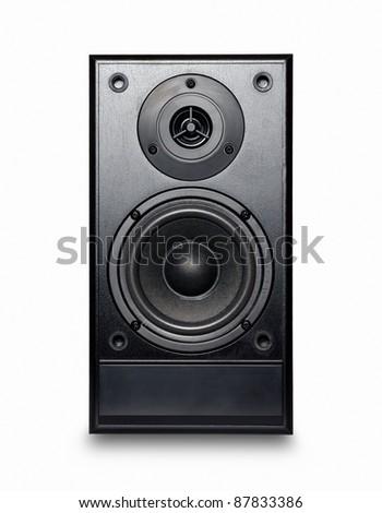 Black sound speaker on white background. - stock photo