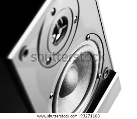 Black sound speaker on white background. - stock photo