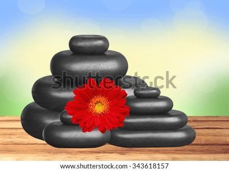 Black spa stones and red gerbera flower on wooden table over bright nature background - stock photo