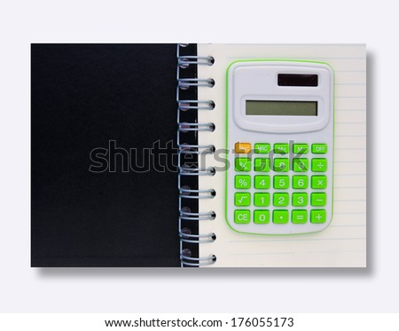 black space and calculator top on notebook isolated on white - stock photo