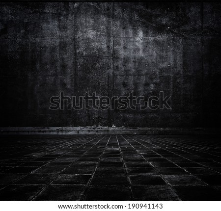 Black space. Dark concrete wall and floor.  - stock photo