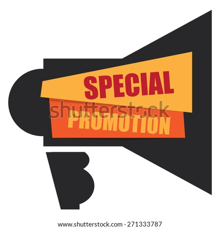 Black Special Promotion Megaphone Banner, Sign, Label or Icon Isolated on White Background - stock photo