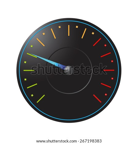 Black speedometer on a white background - stock photo
