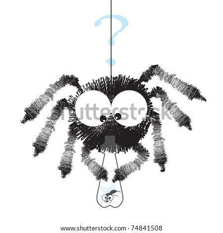 Black spider with fly in the bottle - funny cartoon illustration - raster version of vector ID 73844989 - stock photo