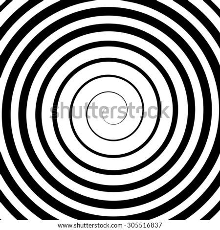 Black Spiral Background. Hypnotic Monochrome Sripal Pattern - stock photo