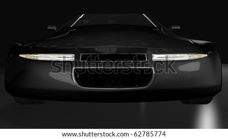 Black sport car - front central perspective view - stock photo
