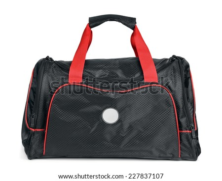 Black sports bag isolated - stock photo