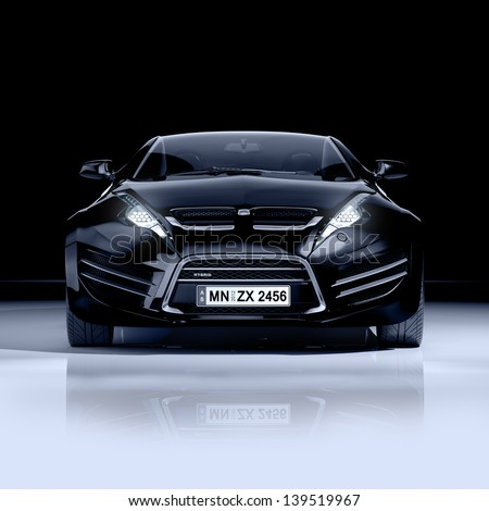 Black sports car - stock photo