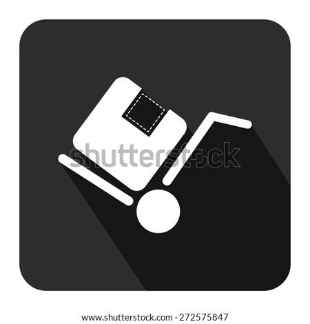 Black Square Delivery or Shipping Long Shadow Style Icon, Label, Sticker, Sign or Banner Isolated on White Background - stock photo