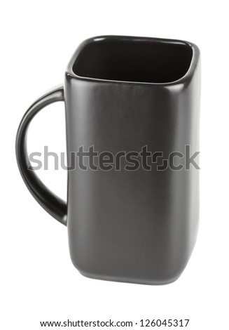 black square empty cup isolated on white - stock photo