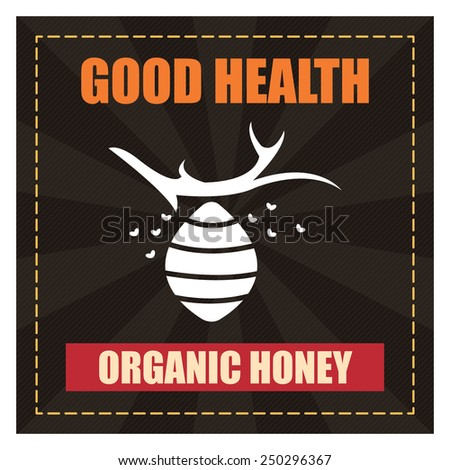Black Square Good Health Organic Honey Poster, Banner, Label or Sticker Isolated on White Background  - stock photo