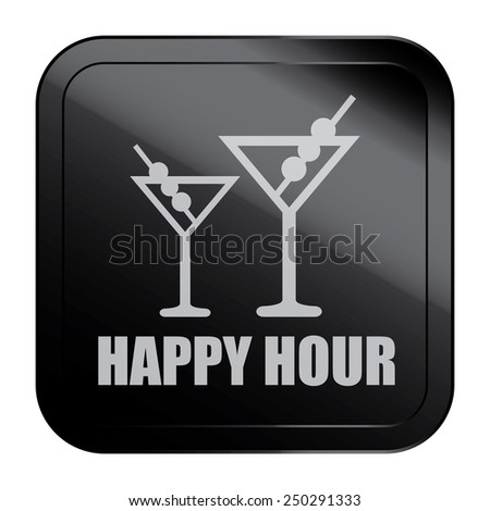 Black Square Metallic Style Happy Hour Sticker, Label, Button or Icon Isolated on White Background  - stock photo