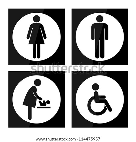 Black Square Toilet Sign with White Circle Background, Man Sign, Women Sign, Baby Changing Sign, Handicap Sign - stock photo
