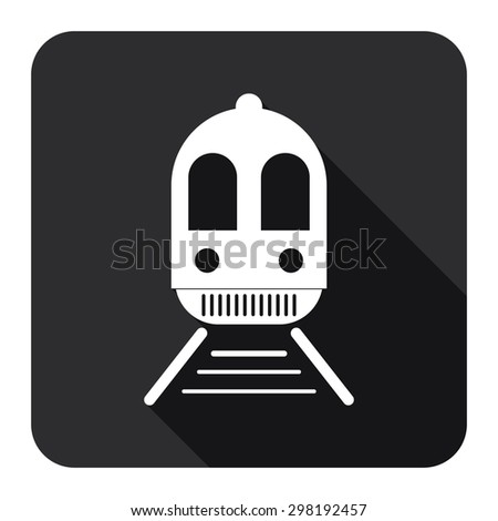 Black Square Train, Subway Station or Railway Station Flat Long Shadow Style Icon, Label, Sticker, Sign or Banner Isolated on White Background - stock photo