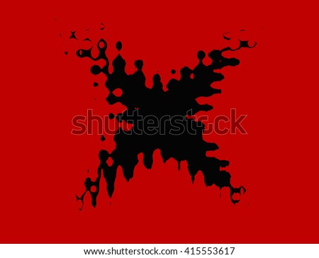 Black stain in shape of X illustration on red background - stock photo