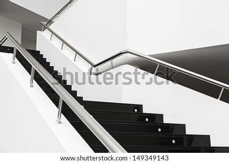 Black Stairs interior building design, construction - stock photo