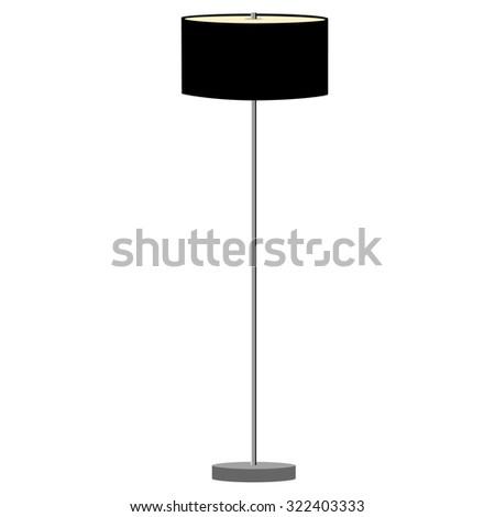 Black standing lamp raster illustration. Floor lamp. Modern lamp - stock photo