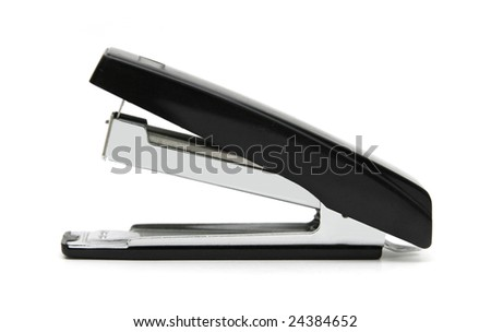 Black stapler isolated on white. - stock photo