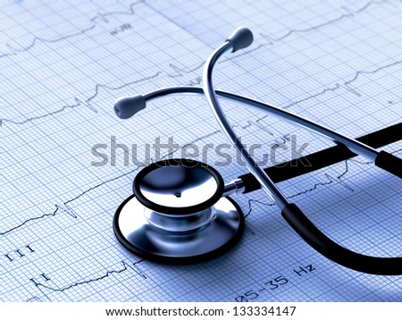 Black stethoscope and electrocardiogram (3D render) - stock photo