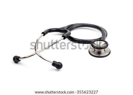 Black stethoscope on white background - stock photo