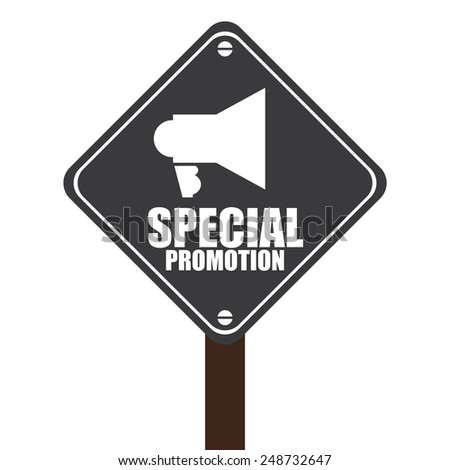 Black Street Sign With Special Promotion and Megaphone Sign Isolated on White Background - stock photo