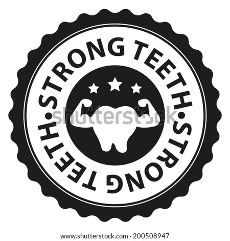 Black Strong Teeth Icon, Sticker, Badge or Label Isolated on White Background - stock photo