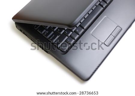 Black stylish laptop. Isolated on white. - stock photo