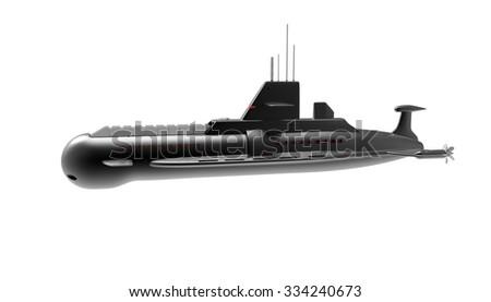 Black Submarine Isolated - stock photo