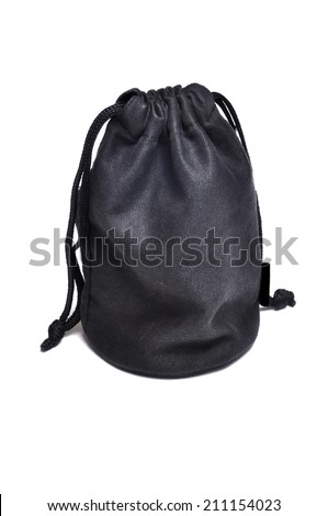Black suede bag isolated on white background. - stock photo