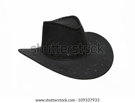 Black suede cowboy hat isolated on white background - stock photo