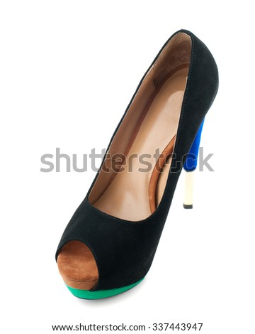 Black suede high heel shoe isolated on white background.Top view. - stock photo
