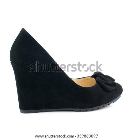 Black suede women shoe isolated on white background. - stock photo