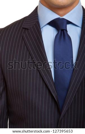 black suit with blue tie - stock photo