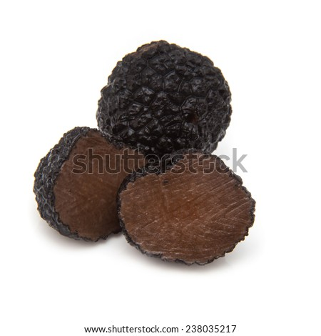 Black summer truffle isolated on a white studio background.( Tuber aestivum) or burgundy truffle isolated on a white studio background. - stock photo