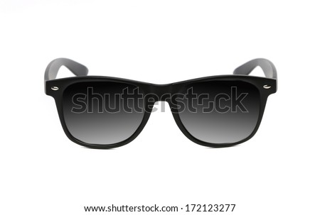 Black sunglasses close up. Isolated on a white background. - stock photo