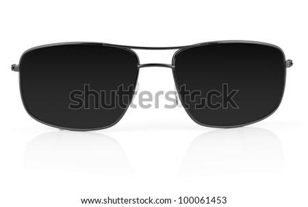 black sunglasses isolated on white background - stock photo