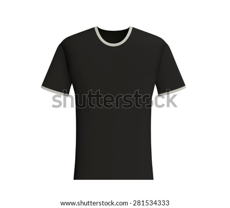 Black t-shirt blank design template, front view isolated on white background - stock photo