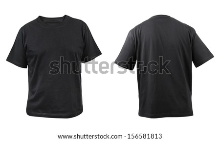 Black t-shirt front and back view. Isolated on a white background. - stock photo