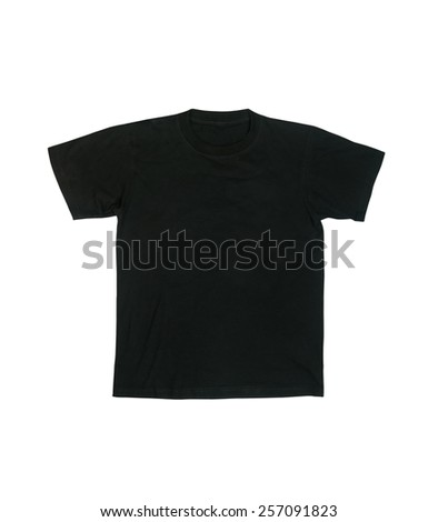 Black t-shirt isolated on white background. - stock photo