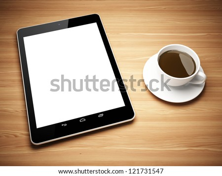 Black tablet computer and cup of tea on wooden table - stock photo