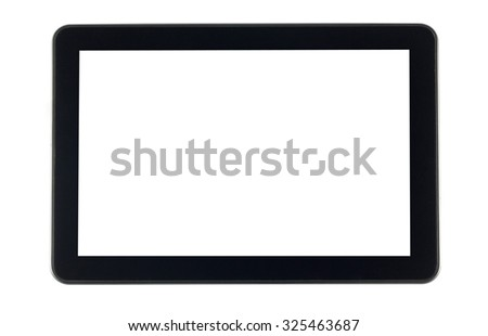 Black tablet computer isolated on white background - stock photo