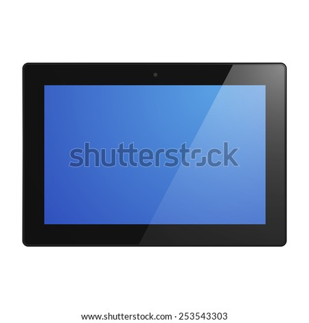 Black Tablet Computer with blue screen.  Illustration Similar To iPad. - stock photo