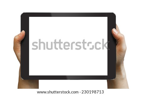 Black tablet in woman's hands isolated on white in horizontal mode, ipad style - stock photo