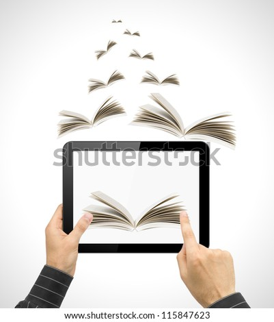 Black tablet pc in hands and book on white background. Portable computer education concept - stock photo