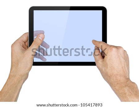 Black tablet pc in hands on white background. Portable computer - stock photo