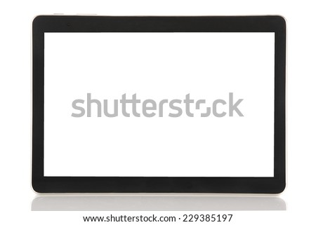 Black Tablet PC Isolated on White Background - stock photo