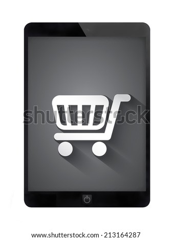 Black tablet PC with grunge wall, isolated white background.  - stock photo