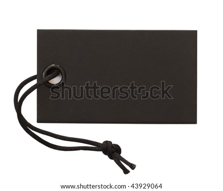 black tag with black string isolated on white - stock photo